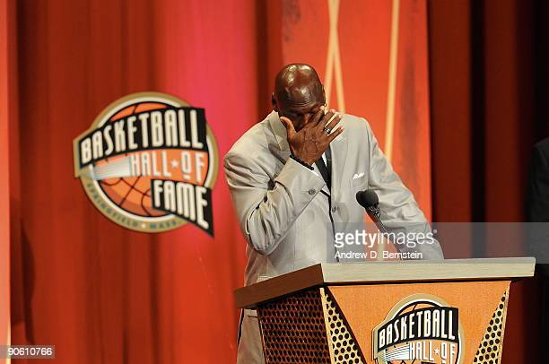 Michael Jordan gets emotional during the Basketball Hall of Fame Class of 2009 Induction Ceremony at the Symphony Hall on September 11 2009 in...