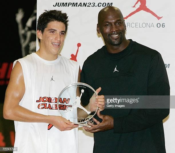 Michael Jordan gives the MVP award of the Jordan Classic Game to Jorge Santana on October 22 2006 at the INEF Centre in Barcelona Spain
