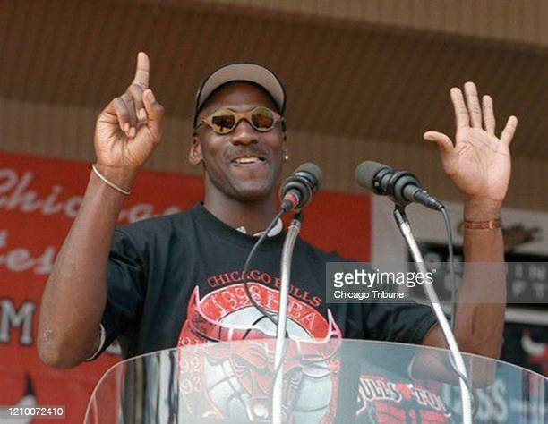 Michael Jordan holds up six fingers for each championship of the Chicago Bulls dynasty on June 16 1998