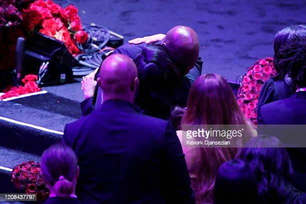 Michael Jordan hugs Vanessa Bryant during The Celebration of Life for Kobe Gianna Bryant at Staples Center on February 24 2020 in Los Angeles...