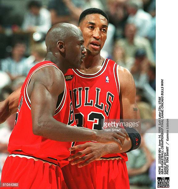 Michael Jordan Is Hugged By Scottie Pippin After He Made The Game Winning Shot During Sunday Night's Game 6 Of The Nba Finals At The Delta Center...