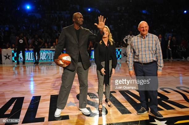 Michael Jordan, Jeanie Buss and Steve Ballmer announce the next All Star in Charlotte during the NBA All-Star Game as a part of 2018 NBA All-Star...