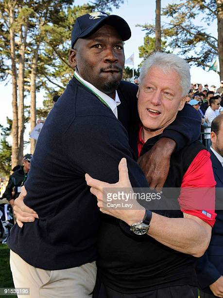 Michael Jordan jokes around with former President Bill Clinton during practice for The Presidents Cup at Harding Park Golf Club on October 6 2009 in...