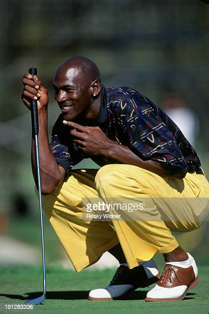 Michael Jordan looks on during the Isuzu Celebrity Golf Tournament on July 7, 1995 in Lake Tahoe, Nevada. NOTE TO USER: User expressly acknowledges...