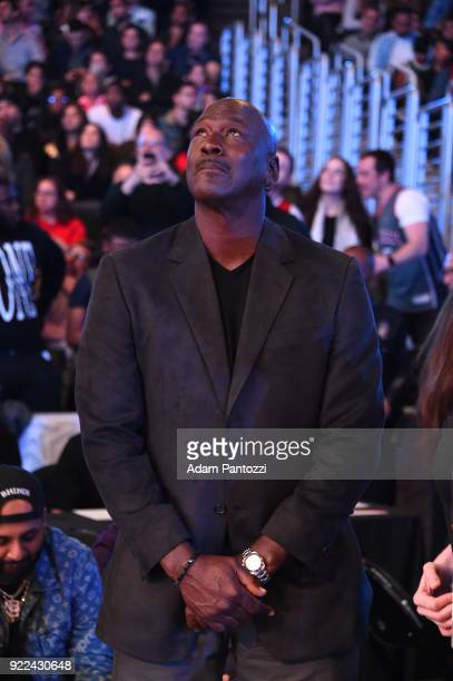 Michael Jordan looks on during the NBA AllStar Game as a part of 2018 NBA AllStar Weekend at STAPLES Center on February 18 2018 in Los Angeles...