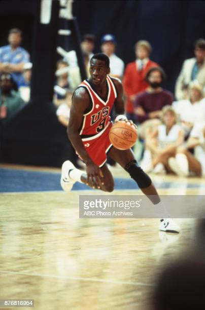 Michael Jordan Men's Basketball team playing at 1984 Olympics at the Los Angeles Memorial Coliseum