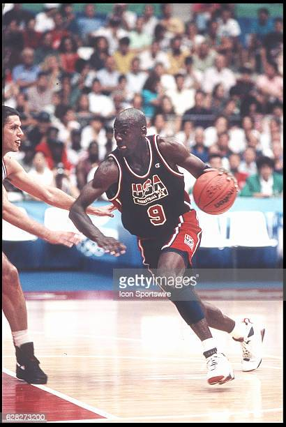 Michael Jordan of Team USA, the Dream Team, drives to the basket during the men's basketball competition at the 1992 Summer Olympics in Barcelona,...