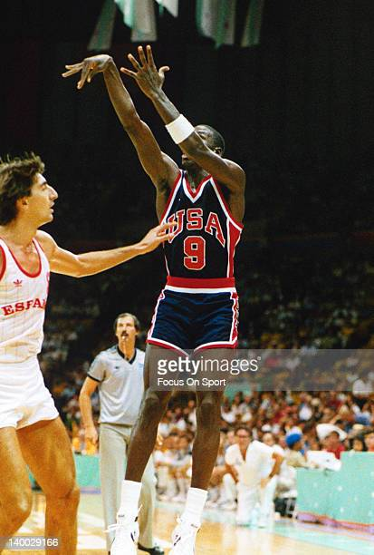 Michael Jordan of the 1984 USA Olympic Basketball team shoots a jump shot during the 1984 Summer Olympics July 1984 at The Forum in Inglewood,...