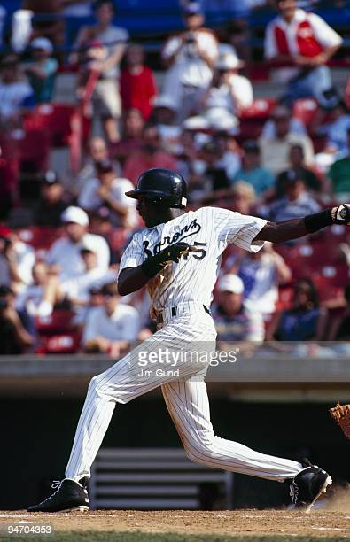 Michael Jordan of the Birmingham Barons bats during an August 1994 game against the Memphis Chicks at Hoover Metropolitan Stadium in Hoover Alabama
