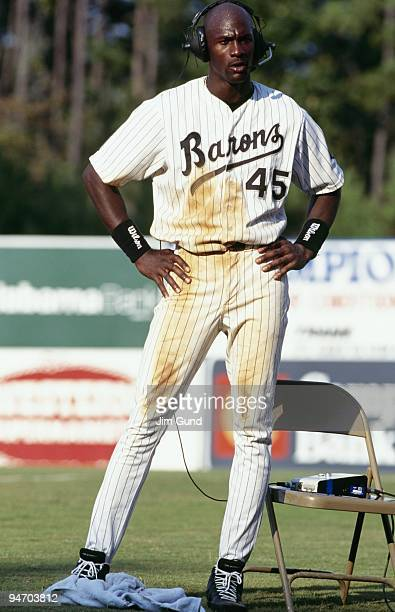 Michael Jordan of the Birmingham Barons gives an interview following an August 1994 game against the Memphis Chicks at Hoover Metropolitan Stadium in...