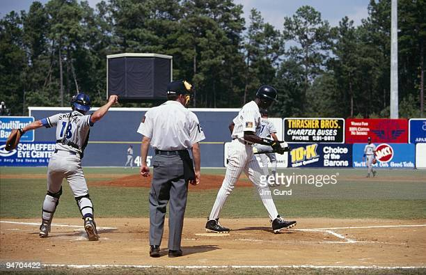 Michael Jordan of the Birmingham Barons strikes out during an August 1994 game against the Memphis Chicks at Hoover Metropolitan Stadium in Hoover...