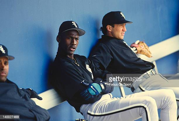 Michael Jordan of the Birmingham Barons the Double A minor league affiliate of the Chicago White Sox looks on from the bench during a minor league...