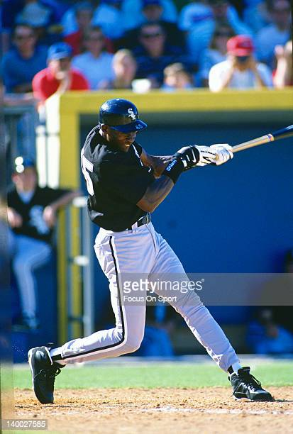 Michael Jordan of the Birmingham Barons the Double A minor league affiliate of the Chicago White Sox bats during a minor league baseball game circa...