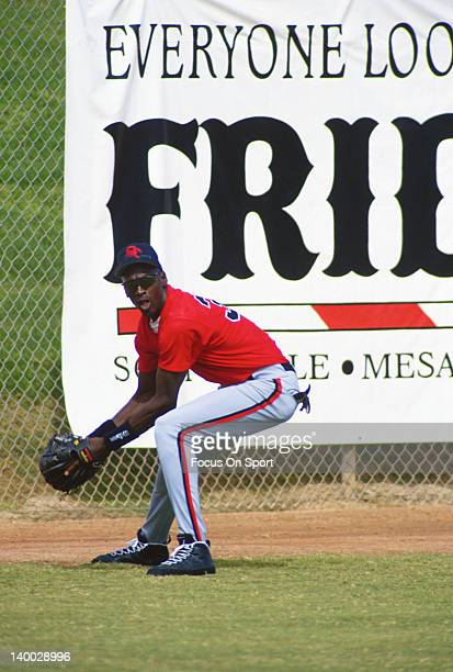 Michael Jordan of the Birmingham Barons the Double A minor league affiliate of the Chicago White Sox in action during a minor league baseball game...