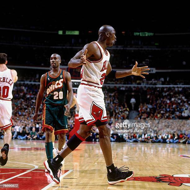 Michael Jordan of the Chicago Bulls argues a call during Game One of the NBA Finals at the United Center on June 5 1996 in Chicago Illinois The Bulls...