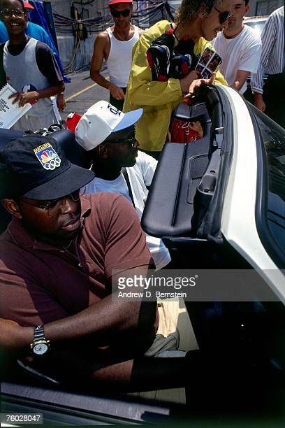 Michael Jordan of the Chicago Bulls arrives at the arena before Game Four of the 1993 NBA Finals on June 16 1993 at the Chicago Stadium in Chicago...