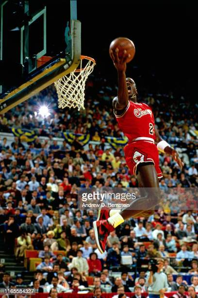 Michael Jordan of the Chicago Bulls attempts a dunk during the 1985 NBA All Star Slam Dunk Competition at the Hoosier Dome on February 10 1985 in...