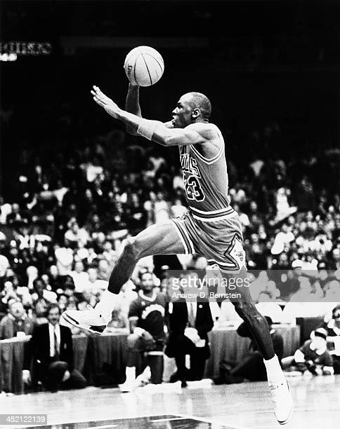 Michael Jordan of the Chicago Bulls attempts a dunk during the 1987 Slam Dunk Contest on February 7 1987 at the Seattle Coliseum in Seattle...