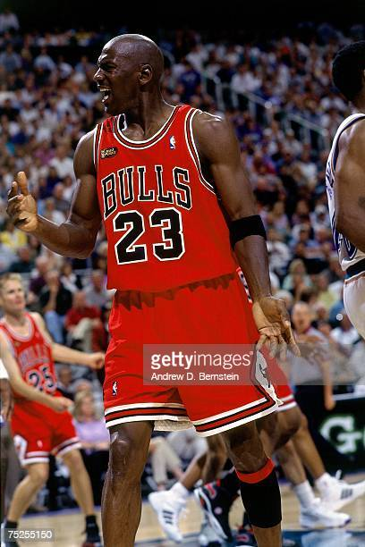 Michael Jordan of the Chicago Bulls battles for a rebound against the Utah Jazz in Game Two of the 1998 NBA Finals at the Delta Center on June 5 1998...