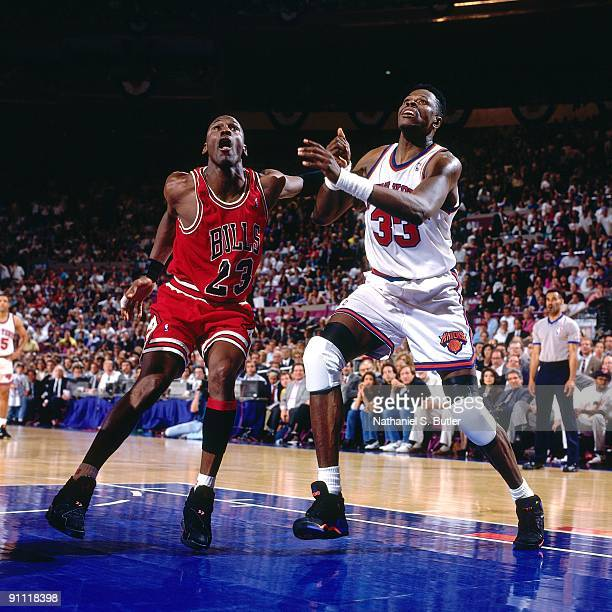 Michael Jordan of the Chicago Bulls boxes out against Patrick Ewing of the New York Knicks during a game played in 1993 at Madison Square Garden in...