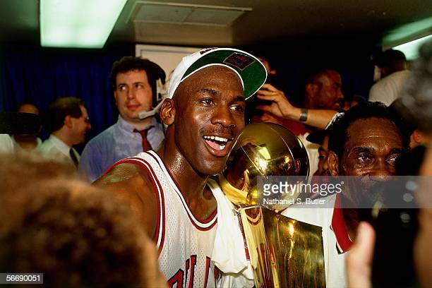 Michael Jordan of the Chicago Bulls celebrates after Game 6 of the NBA Finals against the Portland Trail Blazers on June 14, 1992 at Chicago Stadium...