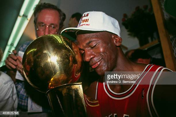 Michael Jordan of the Chicago Bulls celebrates following Game Five of the 1991 NBA Finals on June 12 1991 at the Great Western Forum in Inglewood...