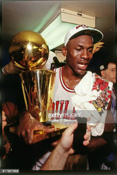 Michael Jordan of the Chicago Bulls celebrates following Game Six of the 1992 Finals on June 14, 1992 at Chicago Stadium in Chicago, Illinois. NOTE...