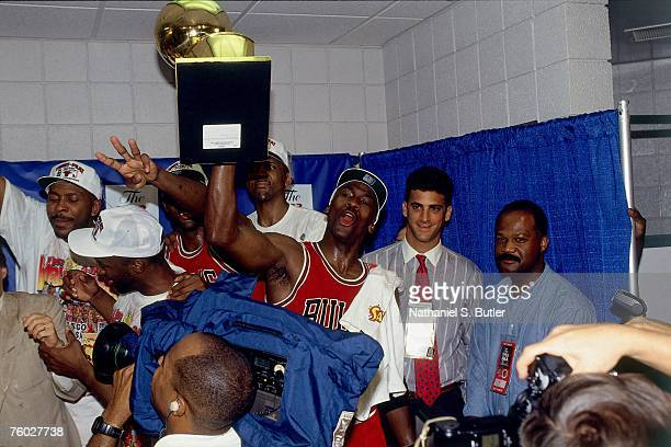 Michael Jordan of the Chicago Bulls celebrates winning the 1993 NBA Championship after defeating the Phoenix Suns in Game Six of the 1993 NBA Finals...