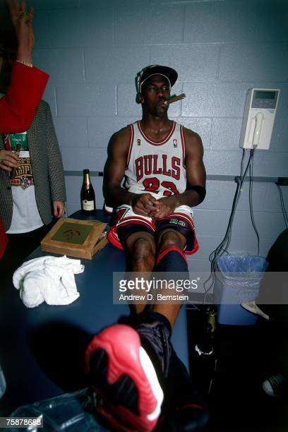 Michael Jordan of the Chicago Bulls celebrates winning the 1996 NBA Championship on June 16 1996 at the United Center in Chicago Illinois NOTE TO...