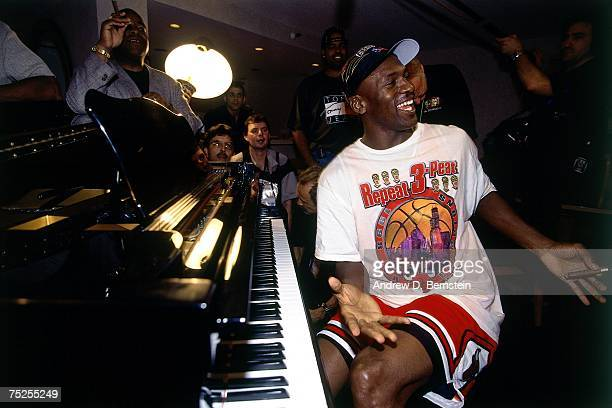 Michael Jordan of the Chicago Bulls celebrates winning the 1998 NBA Championship after Game Six of the 1998 NBA Finals against the Utah Jazz on June...