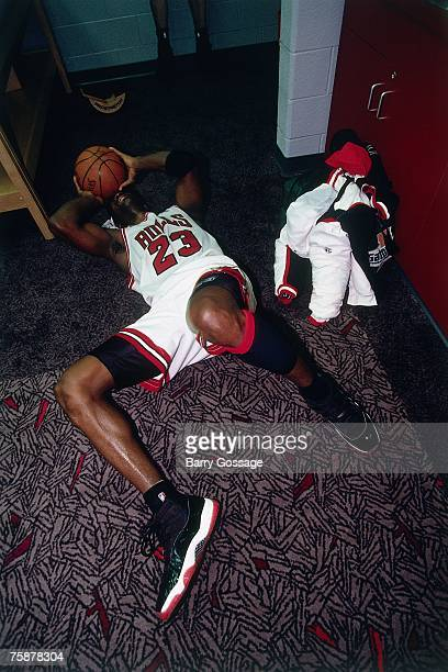 Michael Jordan of the Chicago Bulls celebrates winning the1996 NBA Championship after defeating the Seattle SupperSonics in Game Six of the NBA...