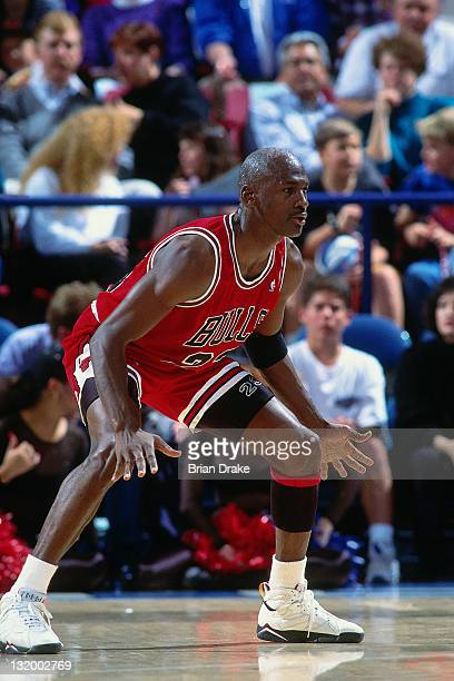 Michael Jordan of the Chicago Bulls defends against the Portland Trailblazers at the Veterans Memorial Coliseum circa 1993 in Portland Oregon NOTE TO...