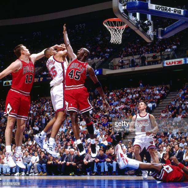 Michael Jordan of the Chicago Bulls defends during a game played on April 5 1995 at Continetal Airlines Arena in East Rutherford New Jersey NOTE TO...