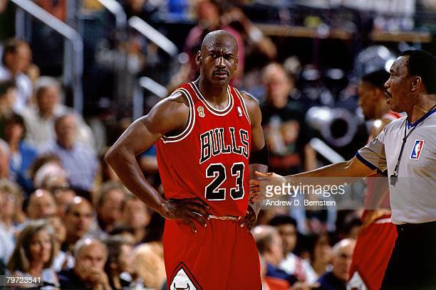 Michael Jordan of the Chicago Bulls displays emotion against the Seattle SuperSonics in Game Five of the 1996 NBA Finals at Key Arena on June 14 1996...