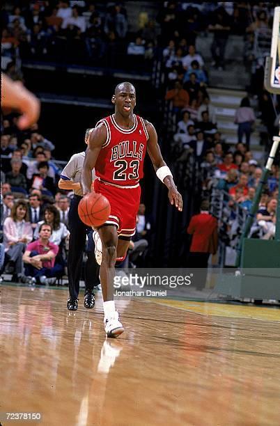 Michael Jordan of the Chicago Bulls dribbles the ball during the game Mandatory Credit Jonathan Daniel /Allsport