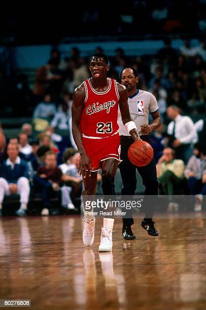 Michael Jordan of the Chicago Bulls dribbles upcourt during his rookie season in 1984 in Chicago, Illinois. NOTE TO USER: User expressly acknowledges...