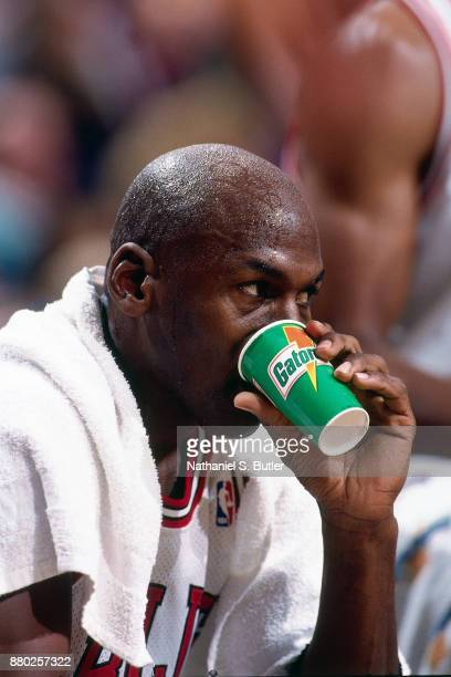 1f11b90217aea7 Michael Jordan of the Chicago Bulls drinks gatorade during a game played on  November 4 1995