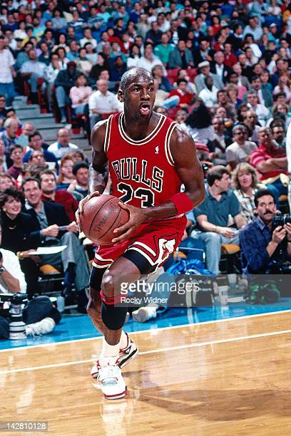 Michael Jordan of the Chicago Bulls drives against the Sacramento Kings during a game played on November 14 1989 at the Arco Arena in Sacramento...