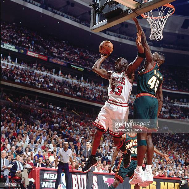 Michael Jordan of the Chicago Bulls drives to the basket against the Seattle SuperSonics during Game six of the 1996 NBA Finals at the United Center...