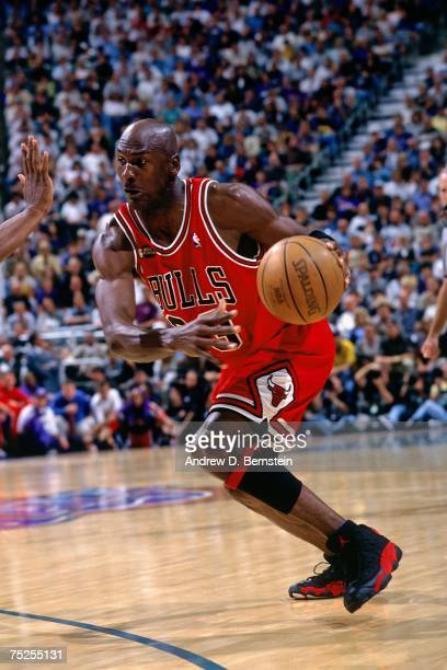 Michael Jordan of the Chicago Bulls drives to the basket against the Utah Jazz in Game Two of the 1998 NBA Finals at the Delta Center on June 5, 1998...