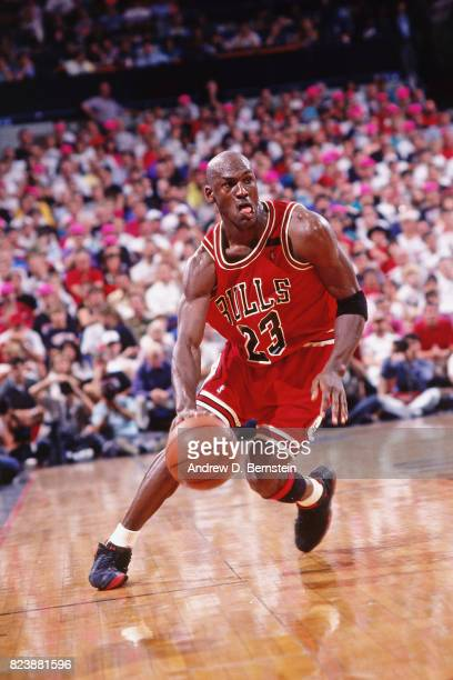 5cab5ed8b6b Michael Jordan of the Chicago Bulls drives to the basket against the Portland  Trail Blazers in