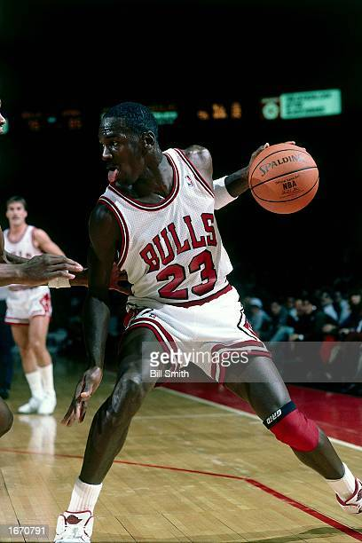 Michael Jordan of the Chicago Bulls drives to the basket during the 1980 NBA game at Chicago Stadium in Chicago Illinois NOTE TO USER User expressly...