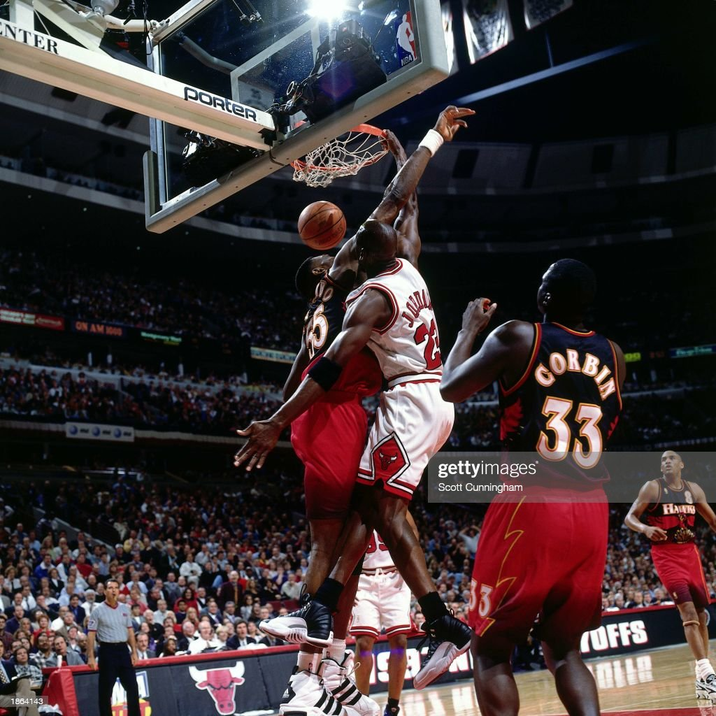 Michael Jordan 23 Of The Chicago Bulls Dunks Against Atlanta Hawks During Game Five