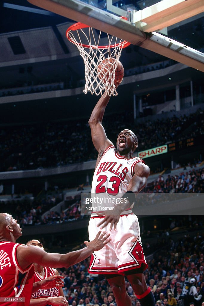 Michael Jordan 23 Of The Chicago Bulls Dunks Against Philadelphia 76ers On January 16
