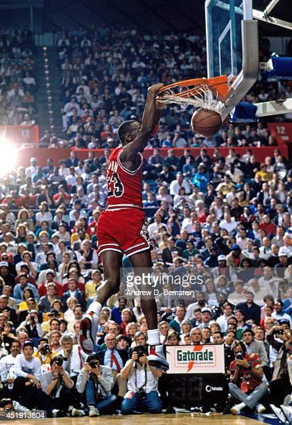 Michael Jordan of the Chicago Bulls dunks the ball during the 1987 Slam Dunk Contest on February 7 1987 at the Seattle Center Coliseum in Seattle...