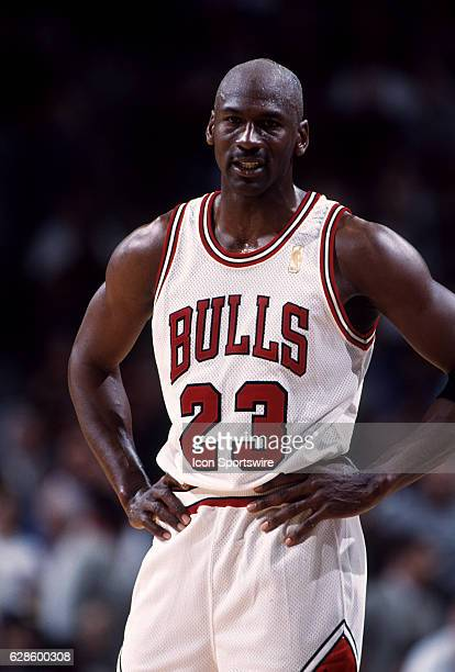 Michael Jordan of the Chicago Bulls during a Bulls game versus the Miami Heat at the United Center in Chicago Illinois