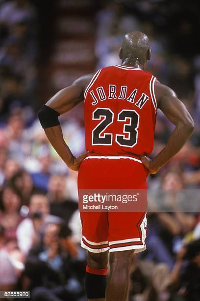 Michael Jordan of the Chicago Bulls during a NBA basketball game against the Washington Bullets at USAir Arena on March 1 1996 in Landover Maryland