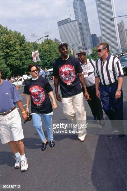 Michael Jordan of the Chicago Bulls during the 1998 Chicago Bulls Celebration Rally on June 16 1998 at Grant Park in Chicago Illinois NOTE TO USER...