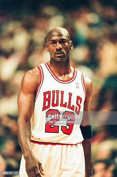 Michael Jordan of the Chicago Bulls during the game against the Charlotte Hornets on May 6 1998 at United Center in Chicago Illinois