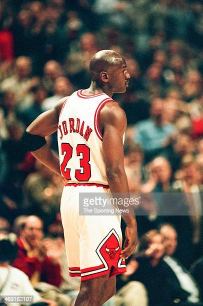 Michael Jordan of the Chicago Bulls during the game against the Atlanta Hawks on May 13, 1997 at The Omni Coliseum in Atlanta, Georgia.